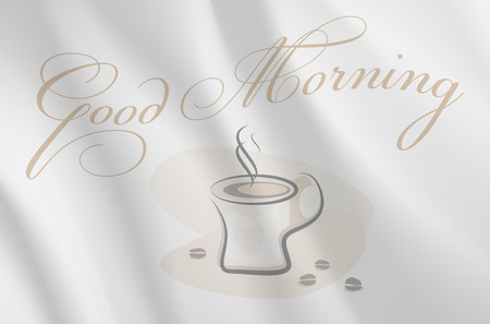 wavy fabric: The inscription Good Morning on gray wavy fabric and abstract cup of coffee - vector illustration