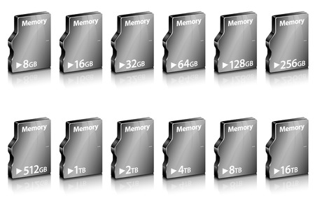 capacity: Set of abstract computer memory in different capacity - isolated on white. Vector illustration. Illustration