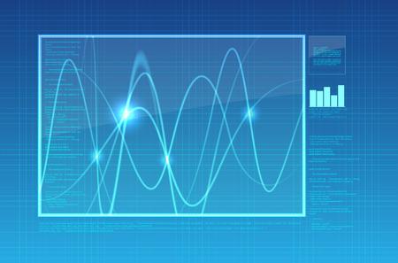 oscilloscope: Abstract oscilloscope background - illustration