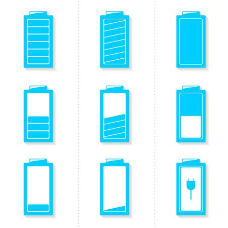 Set of blue battery icons with different level of charge and transparent shadows - vector illustration Vector
