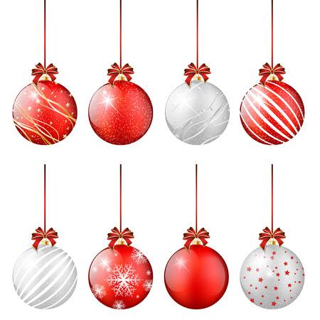 Set van glimmende kerstballen - geïsoleerd op een witte achtergrond. Vector illustratie. Stock Illustratie