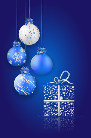 Shiny christmas balls and gift on blue background with place for your text. Vector illustration. Vector