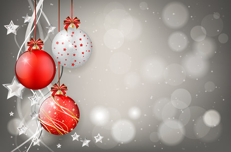 Red and silver christmas balls on shiny background - place for your text. Vector illustration. Vettoriali