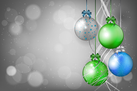 Christmas card with christmas balls and place for text Vector