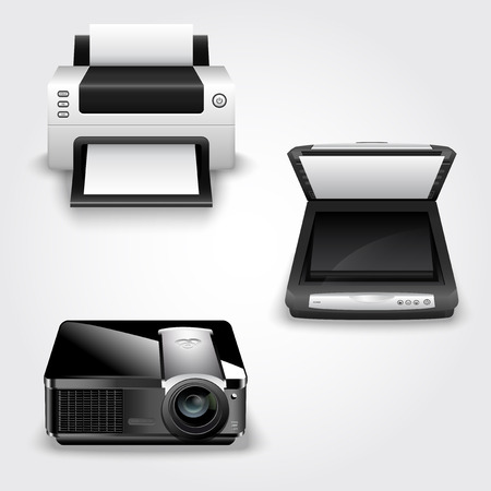 laser printer: Detailed vector illustration of abstract office equipment - printer, scanner and projector Illustration