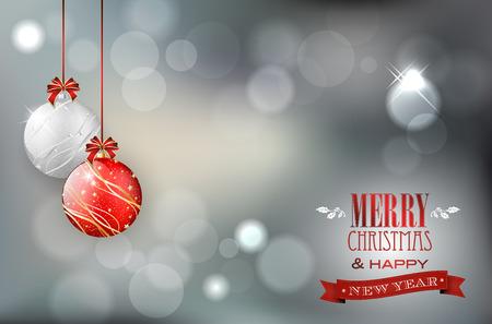 光沢のある背景とテキストの場所のクリスマス ボール付きのクリスマス カード。ベクトルの図。