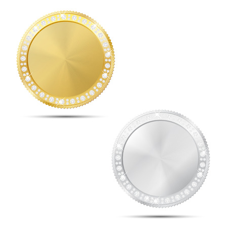 Abstract gold and silver coin or frame with diamonds and place for your text or icon - isolated on white background. Vector illustration. Illustration
