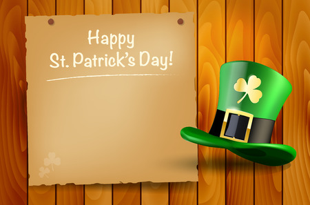 wooden hat: Wooden background with St.Patricks Day wish and green hat. Vector illustration.