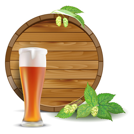 brewery  hops: Wooden barrel, glass of beer and hops - isolated on white background. Vector illustration. Illustration