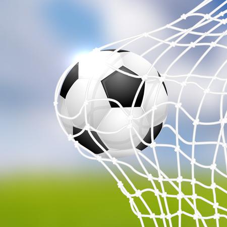 soccer goal: Soccer ball in goal - vector illustration Illustration