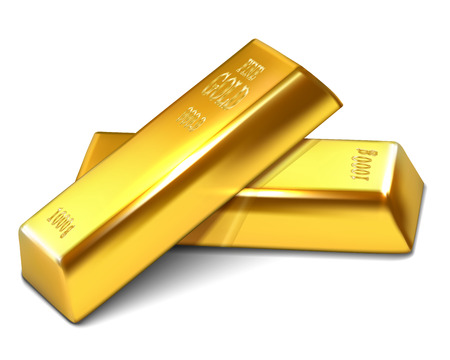gold ingot: Realistic illustration of golden bars on the white background - vector illustration