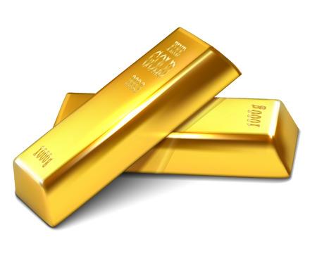 Realistic illustration of golden bars on the white background - vector illustration