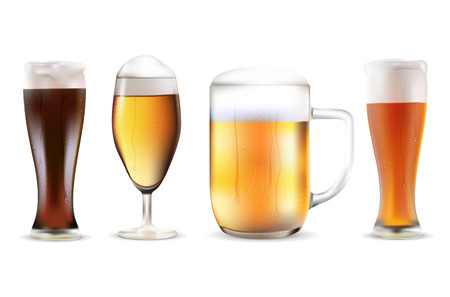 dewy: Set of four beers in dewy glasses - isolated on white background. Realistic vector illustration.