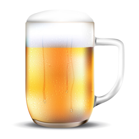dewy: Dewy glass of beer on white background