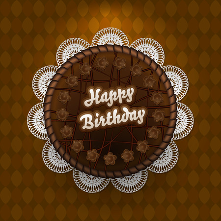 corpus: Chocolate cake with birthday wishes - vector illustration