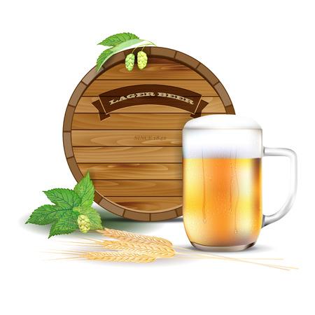 hops: Wooden barrel, glass of beer, hops and barley - vector illustration Illustration