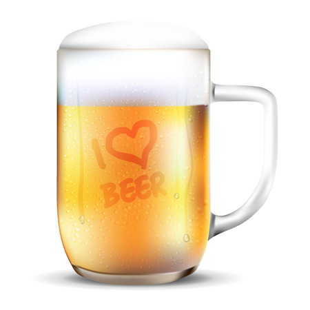 dewy: Dewy glass of beer with I LOVE BEER lettering. Isolated on white background - vector illustration.