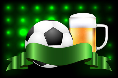 dewy: Soccer ball, beer and blank ribbon for your text on shiny