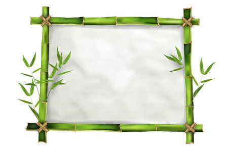 Bamboo frame with realistic paper background for your message. Isolated on white background - vector illustration. Vector