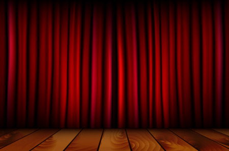 theatre curtain: Red theater curtain and wooden floor - vector illustration