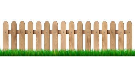 木製のフェンスや草 - 白い背景で隔離されました。ベクトル イラスト。