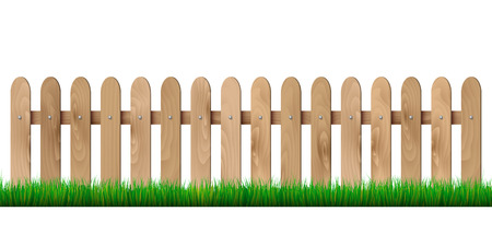 Wooden fence and grass - isolated on white background. Vector illustration. Illustration