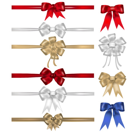 silver ribbon: Set of bows and ribbons - isolated on white background. Vector illustration.