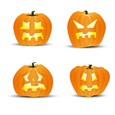 devious: Four different halloween pumpkins - isolated on white background. Vector illustration.