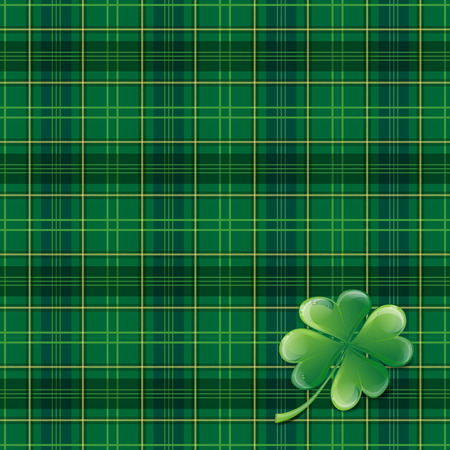 saint patrick's day: Saint Patricks Day background with tartan, cloverleaf and place for your text - vector illustration
