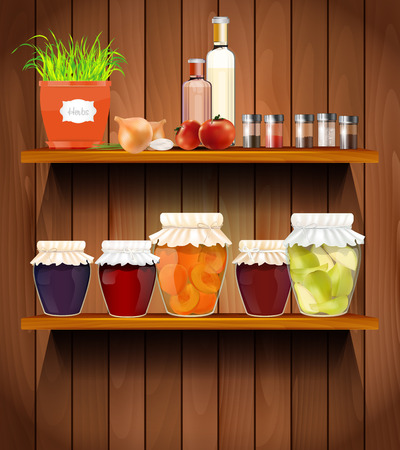 Wooden shelves with the herbs, vegetable, glasses, spices and jam in the pantry - vector illustration