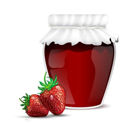 marmalade: Marmellata di fragole in un barattolo e rugiada fragole fresche - isolato su sfondo bianco. Illustrazione vettoriale.