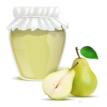 marmalade: Pera marmellata in un barattolo e pere fresche - isolato su sfondo bianco. Illustrazione vettoriale. Vettoriali