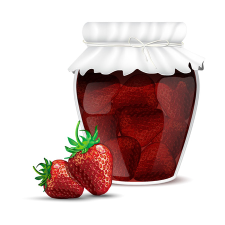 dewy: Strawberry jam in a jar and dewy fresh strawberries - isolated on white background. Vector illustration. Illustration