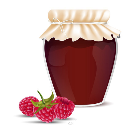dewy: Raspberry marmalade in a jar and dewy fresh raspberries - isolated on white background. Vector illustration.