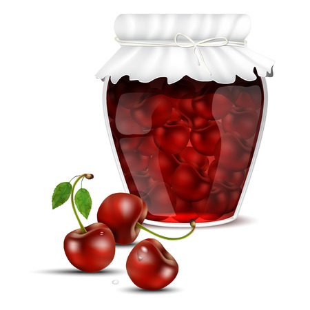 dewy: Cherry compote in a jar and dewy fresh cherries - isolated on white background. Vector illustration.