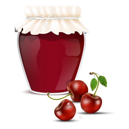 dewy: Cherry marmalade in a jar and fresh dewy cherries - isolated on white background. Vector illustration.