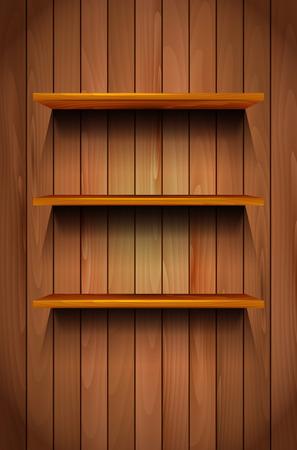 empty shelf: Three empty wooden shelves on the wooden background - vector illustration Illustration