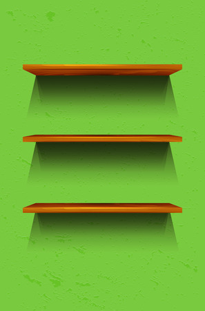 wooden shelves: Three empty wooden shelves on the green wall - vector illustration