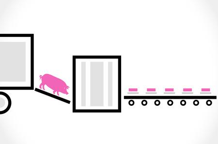 manufactory: Stylized scheme of the pork processing - vector illustration
