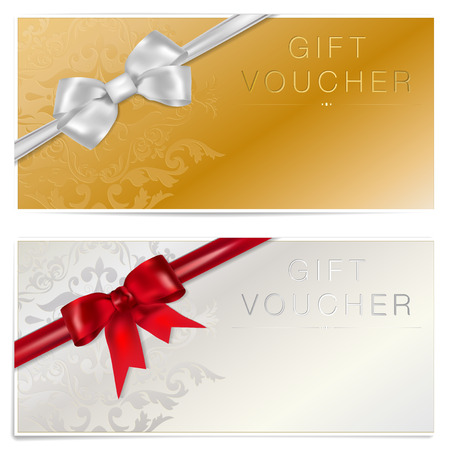 Gold and silver gift voucher with bow - vector illustration