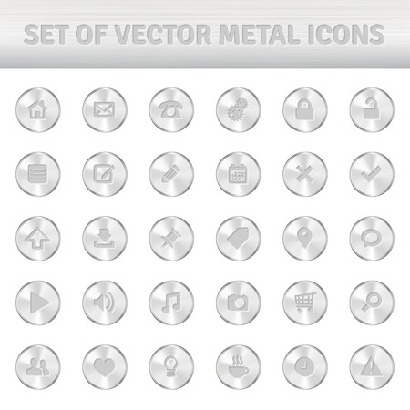 Set of metal icons on silver circles - isolated on white background. Vector illustration. Vector