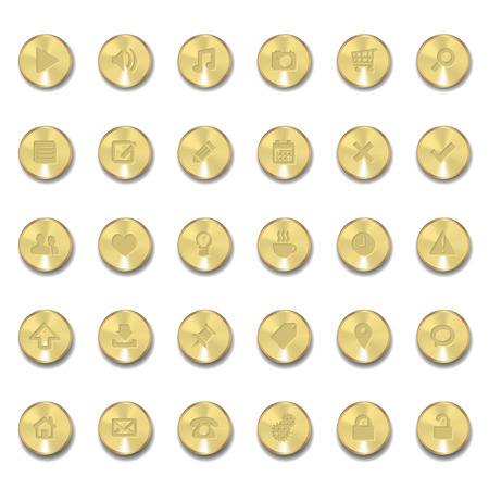 Set of metal icons with shadows on golden circles Vector