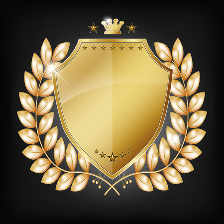 iron defense: Glossy golden shield with laurel and place for your text or icon. Vector illustration.