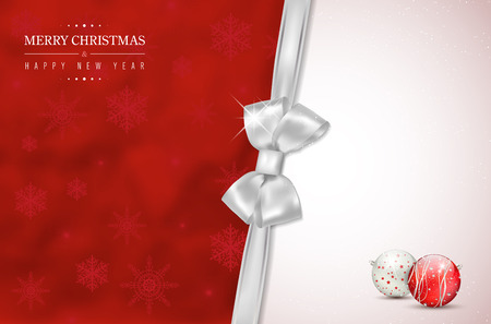 Red Merry Christmas and Happy New Year card with silver bow, snowflakes and shiny christmas balls. Place for your text - vector illustration. Illustration