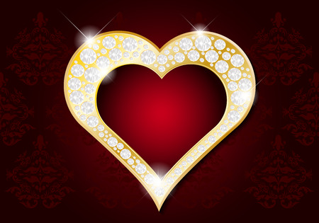 golden heart: Valentines Day card - abstract golden heart with diamonds