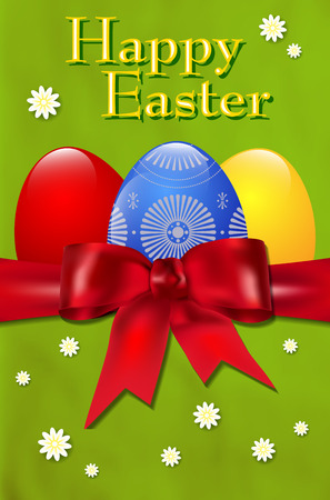 vector eggs: Happy Easter background with easter eggs, red bow and flowers - vector illustration Illustration