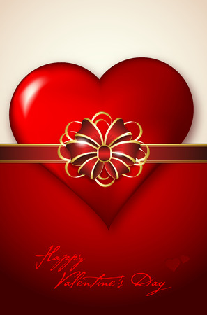 Valentines day card with abstract heart and red bow. Place for text - vector illustration. Vector