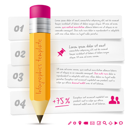 vector sample: Infographics template with lead pencil, paper frames, icons and sample text - isolated on white background. Vector illustration.
