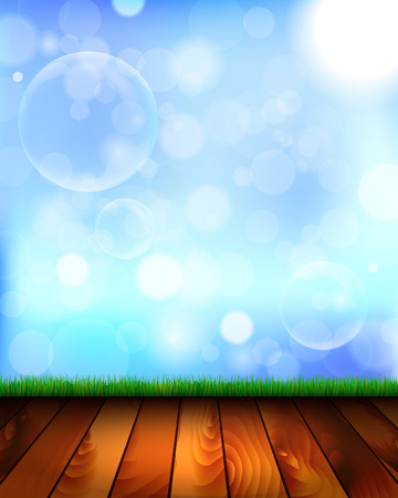 blower: Natural background with wooden floor, grass, sky and bubbles from the bubble blower - vector illustration