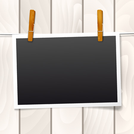 clothespin and rope: Frame for your text or photo hanging on a rope on wooden background - vector illustration Illustration